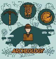 Archeology flat concept icons vector