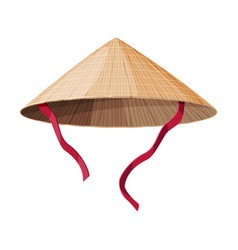 Asian conical straw hat traditional chinese or vector