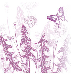 background vintage butterfly with flowers vector image