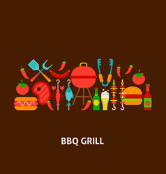 Bbq grill greeting card vector