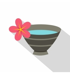 Bowl with water for spa icon flat style vector