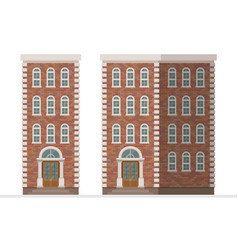 Brick townhouse apartament isolated on white vector