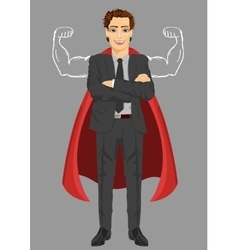 businessman wearing superhero costume vector image