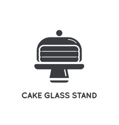 Cake in glass holder serving stand glyph element vector
