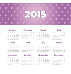 Calendar 2015 year with stars vector image