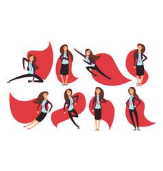 Cartoon businesswoman superhero in red cloak vector