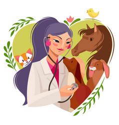 Cartoon color character girl veterinary concept vector