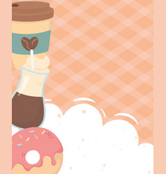 coffee time takeaway and latte cups donut fresh vector image