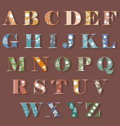 colorful alphabet with white floral decor vector image