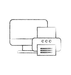 computer printer device technology document office vector image