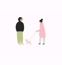 couple with dog in warm clothes flat winter vector image