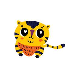 Cute cartoon tiger icon vector