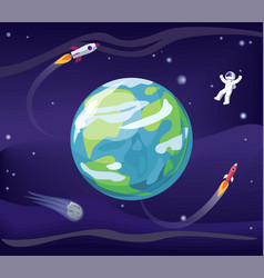 Earth and spaceman poster vector