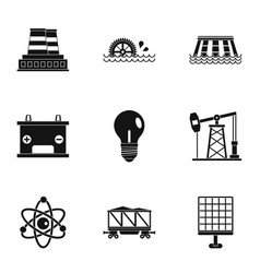 Energy icon set simple style vector