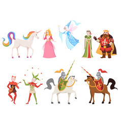 fairy tales characters wizard knight queen king vector image