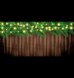fir branches with neon garland on wooden vector image