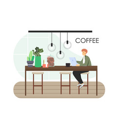 freelance remote work from coffee shop flat vector image