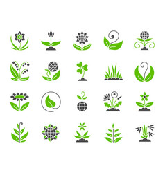 garden simple color flat icons set vector image