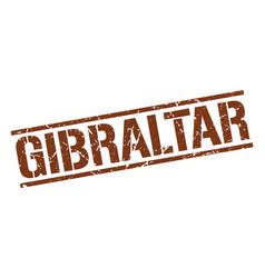 Gibraltar brown square stamp vector