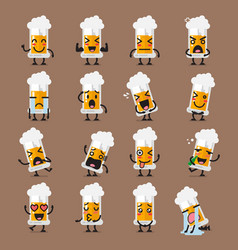 glass of beer character emoji set vector image