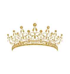 glittering diadem golden tiara isolated on white vector image