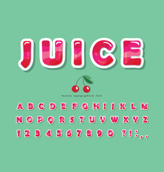 Gloss pink summer trendy font cartoon decorative vector