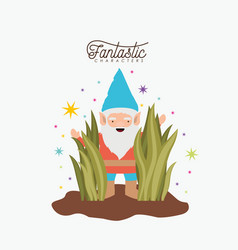 gnome fantastic character coming out of the bushes vector image