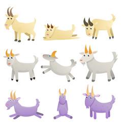 Goat icons set cartoon style vector