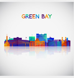 green bay skyline silhouette vector image