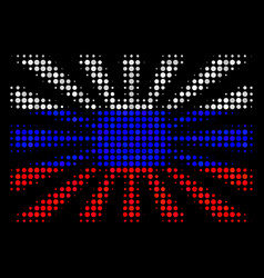 Halftone russian japanese rising sun icon vector