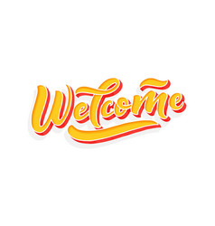 hand sketched - welcome 3d lettering typography vector image