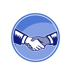 Handshake Black White Woodcut Circle vector image