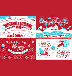 happy christmas banner set simple style vector image