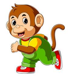 Happy monkey cartoon running vector