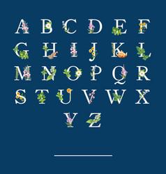 Herbal tea alphabet design with various herbals vector