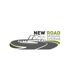 Icon of road bridge construction system vector