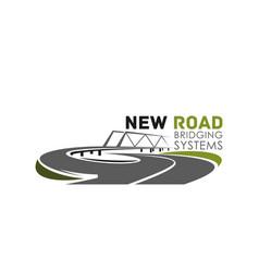 Icon road bridge construction system vector