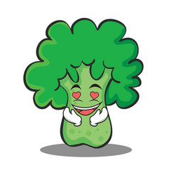 In love broccoli chracter cartoon style vector