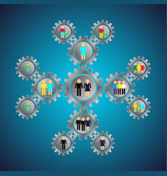 infografics gears with people social relations vector image