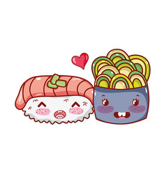 Kawaii sushi salmon wasabi and salad food japanese vector
