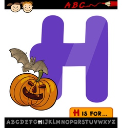 Letter h for halloween cartoon vector