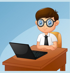Little boy with computer laptop vector