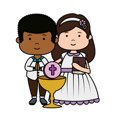 Little kids with chalice and bible first communion vector