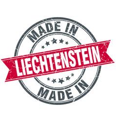 Made in liechtenstein red round vintage stamp vector