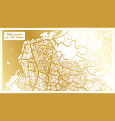Makassar indonesia city map in retro style vector