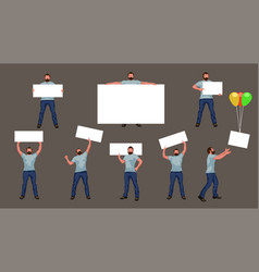 man with banner in set vector image