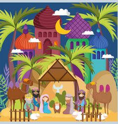Manger sacred family wise men camels hut star vector