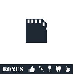 Memory card icon flat vector