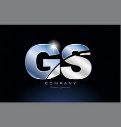 Metal blue alphabet letter gs g s logo company vector
