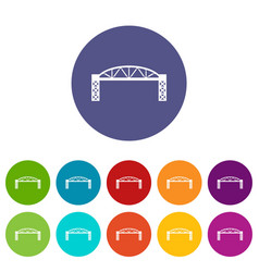 Metal bridge icons set color vector